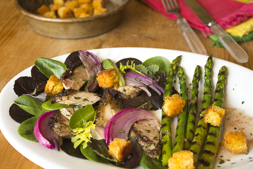 Mojo Chicken Salad with Cornbread Croutons