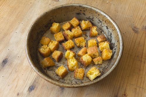 Cornbread croutons and sweetness, crunch and interest to the salad
