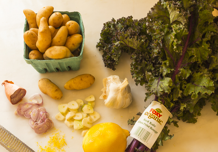 The ingredients: fingerlings, curly kale, garlic, shallots and lemon rind