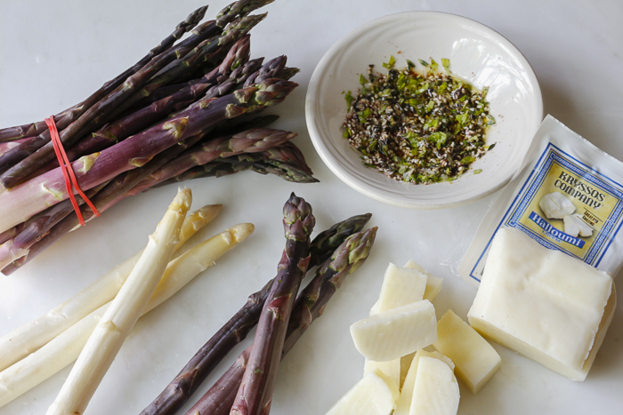 Wonderful Spring Asparagus - Purple and White gets skewered and grilled with chunks of Halloumi Cheese - Za'atar adds flavor!