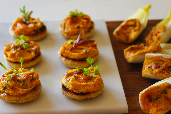 Serve the Carrot Hummus on little bread rounds (I've used Naan) and endive spears