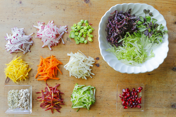 Ingredients for the Super Crunch Salad - julienne like a pro