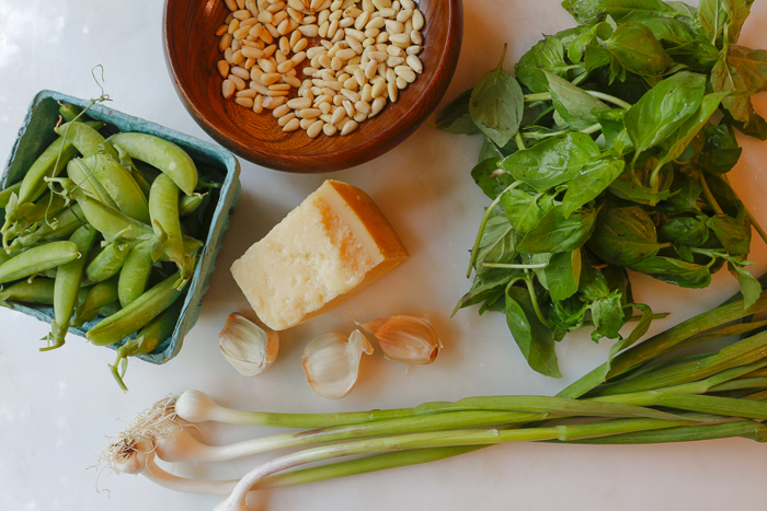 Ingredients for the Pesto - farmers' markets are great sources for green garlic
