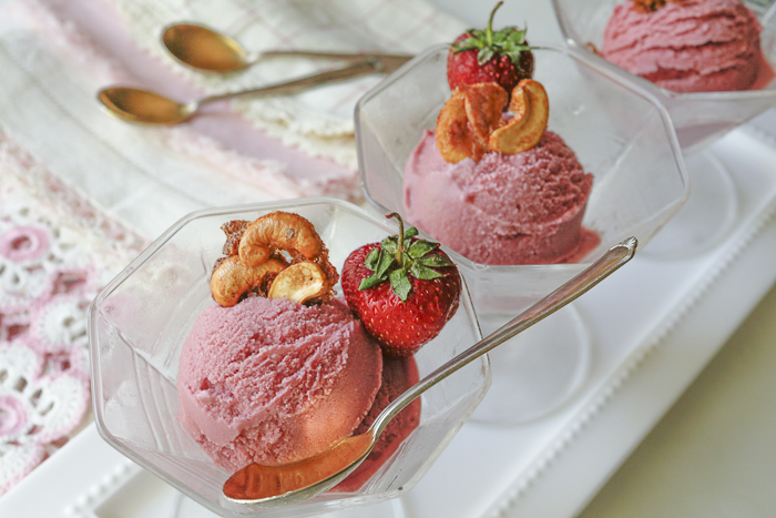 Serve Ice Cream in Vintage Glass Stemmed Bowls with Collectible Linen Napkins