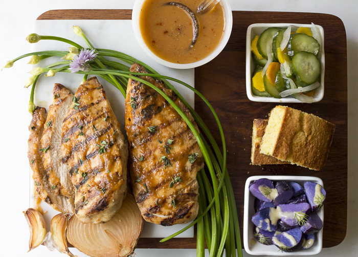 Serve the basted Grilled Chicken with Cornbread, Cucumber & Carrot Salad and Purple Potato & Dill Salad