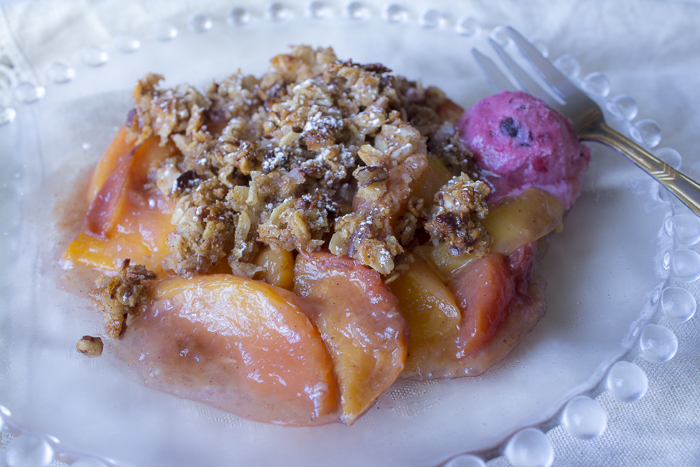 Summer Peaches with an Oat, Pecan and Coconut Crumble - I serve with my Vegan Bing Cherry Ice Cream