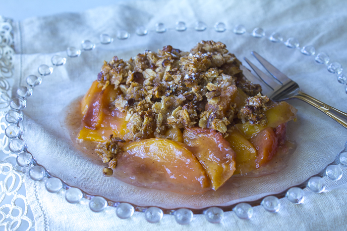 Lightened-Up Peach Crisp