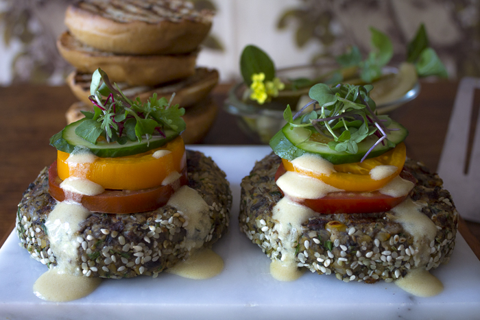 The burger is a blend of Portobello Mushrooms, Brown Rice, Chickpeas with Vegetables and Spices