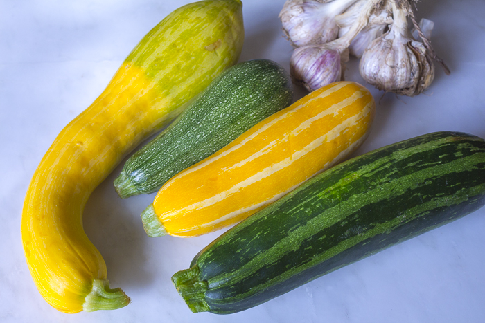 Summer Zucchini - so many varieties to choose from! Use a mandolin for even slices