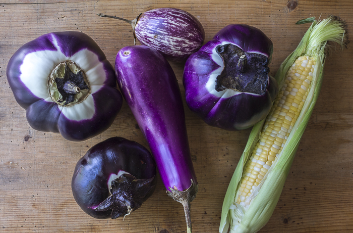 The vegetables: local eggplants and corn