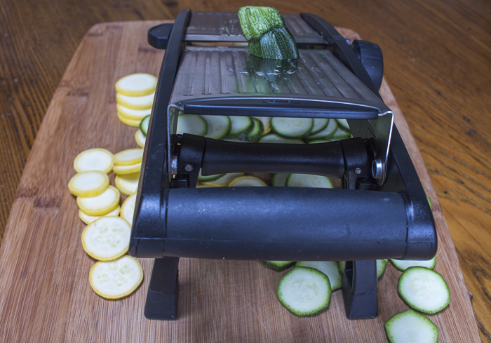 Use a mandoline slicer to cut some of the vegetables
