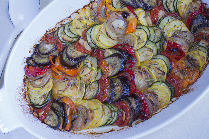 A beautiful layered vegetable Tian goes straight from the oven to table
