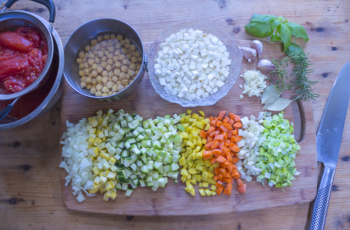 Veggies and chickpeas (or choose your favorite beans) for the base of the soup