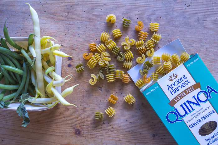 Add at the end - pasta and fresh cut green and wax beans. Use gluten- free pasta if you choose