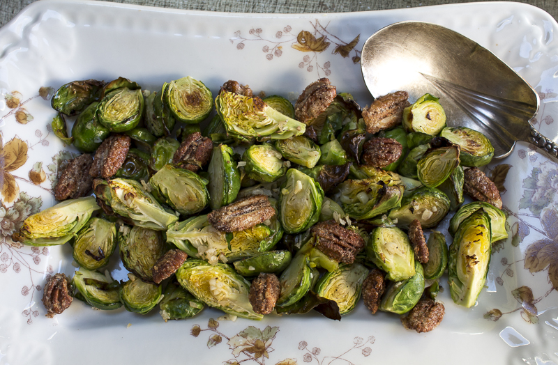 Roasted Brussel Sprouts with Spiced Candied Pecans