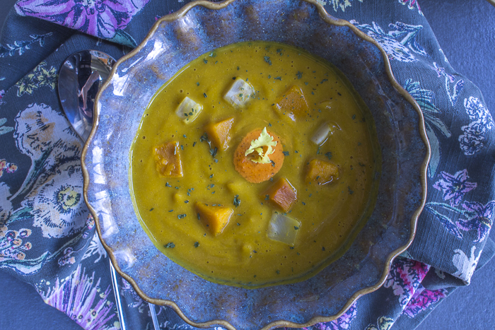 Thanksgiving Squash and Celeriac Soup with Harissa