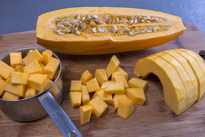 """Peel and cut squash into a 1/2 """" dice. See recipe for details"""