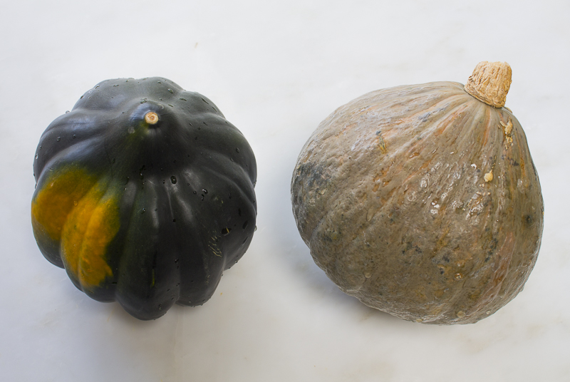 Acorn Squash (left) Blue Hubbard Squash (right)