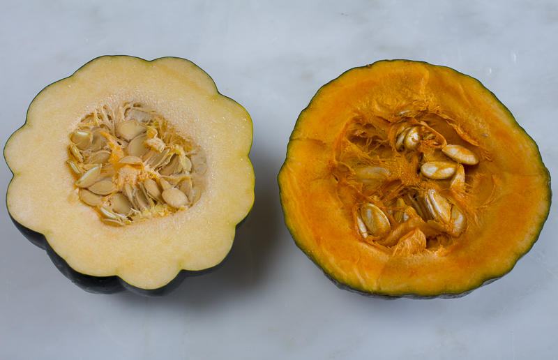 Choose your desired squash, slice in half, scoop out seeds and roast