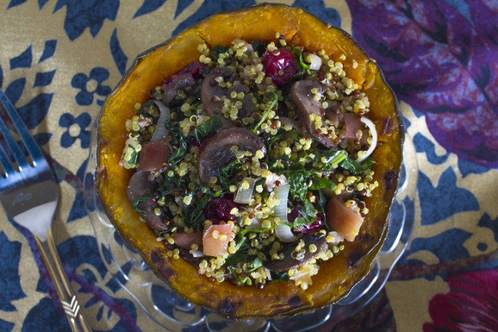 Stuffed Squash with Fruit and Vegetable Quinoa Pilaf