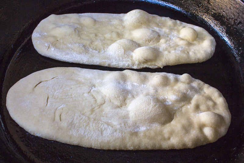 Cook the dough in a skillet - will bubble up beautifully and blacken