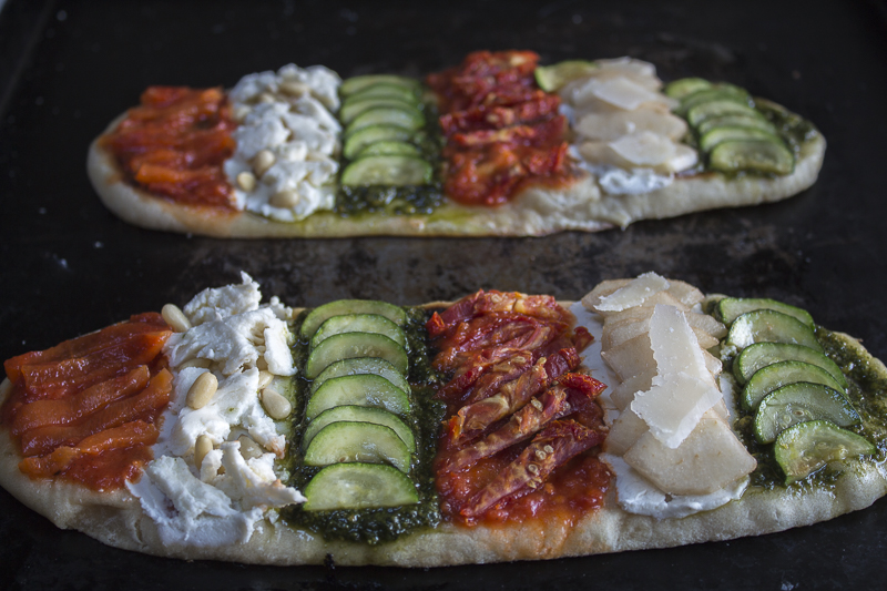 Gorgeous Naan Pizzas, ready to go into the oven