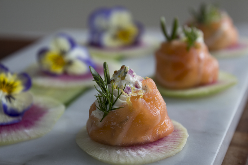 Also try Smoke Salmon Buttons, an open-faced version, top with dill and sprouts