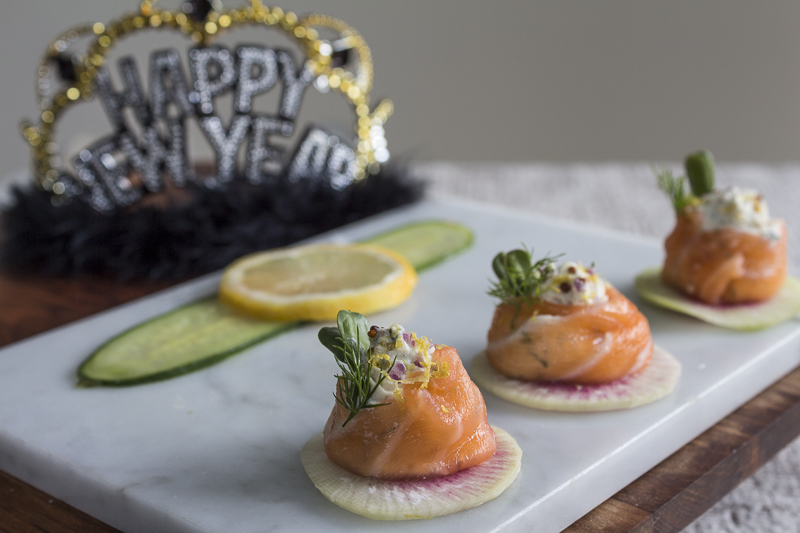 Can also make Smoked Salmon Buttons - an open faced version, top with dill and sprouts