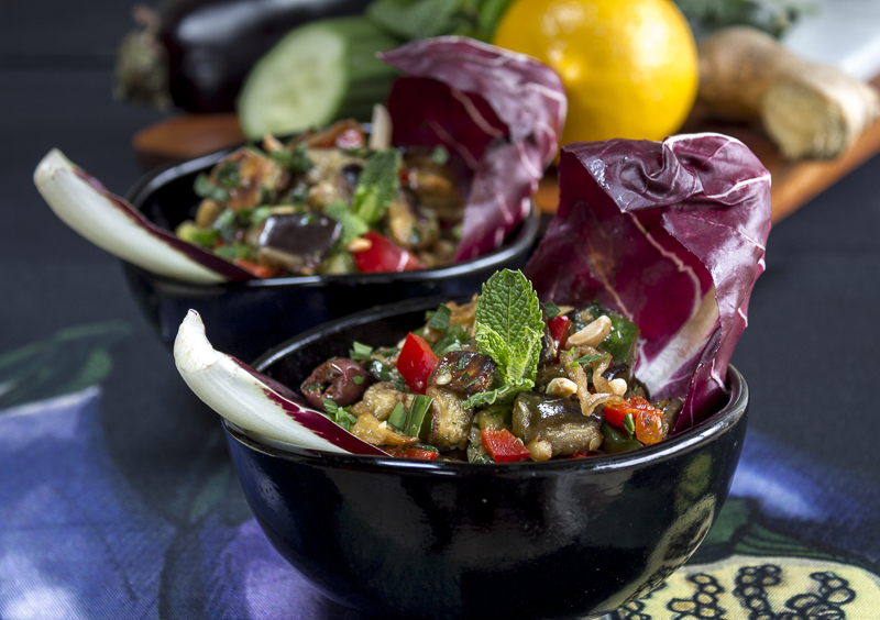 Delicious and Healthy Eggplant Salad with a Meyer Lemon-Ginger Dressing