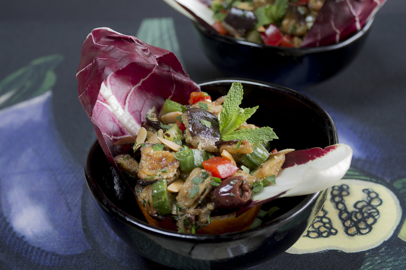 A healthy eggplant salad with a burst of natural flavors