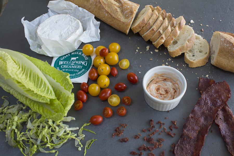 Ingredients for the BLT & C Crostini