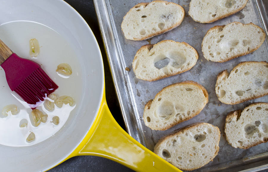 Garlic Oil is a snap to make, brush over the baguette slices and toast