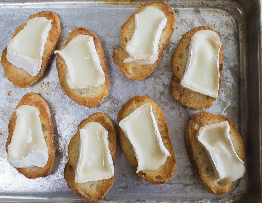 Top with chunks of brie cheese to fit, and melt in the oven