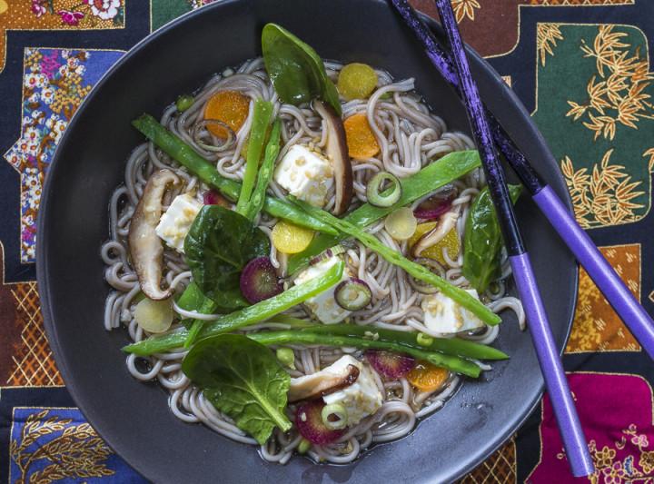 Vegan Ramen Bowl with Unami Broth,  Vegetables and Tofu