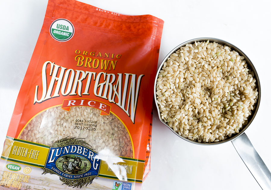 Use short grain, organic brown rice in the recipe