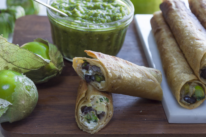 Asparagus,  Apple,  Black Bean and Goat Cheese Taquitos with Salsa Verde