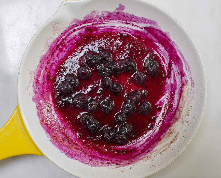 Start the salsa with a simple blueberry puree