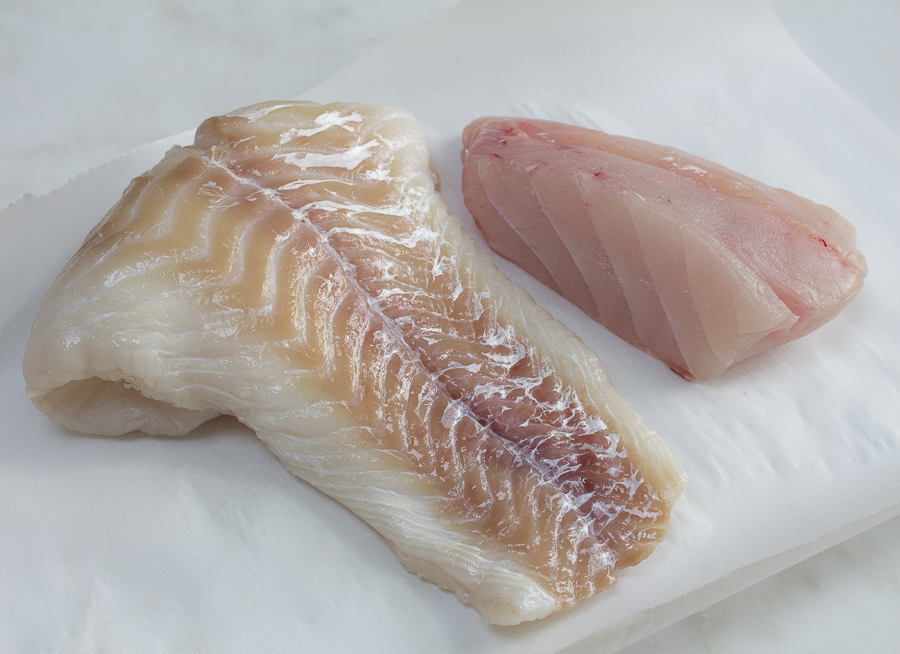 Spice and sear the freshest fish possible - Cod on left, Halibut on right
