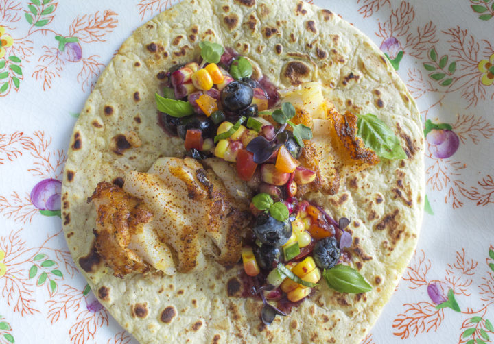 Grilled Halibut with Fresh Blueberry Salsa