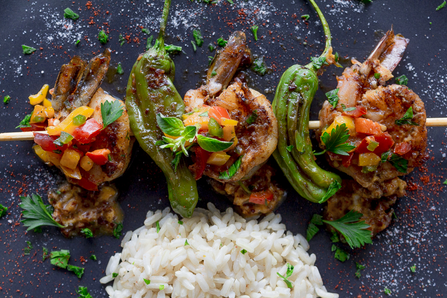 Grilled Shrimp with Padrón Peppers ~ Ancho Chile Spiked Compound ...