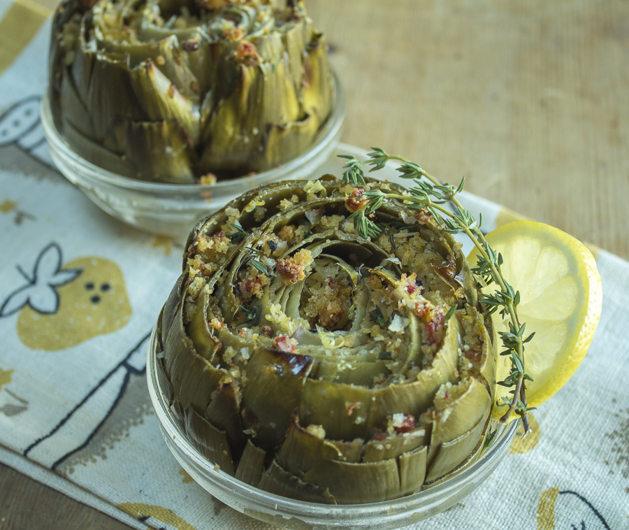 Tempting and delicious artichokes studded with a delicious cornbread topping