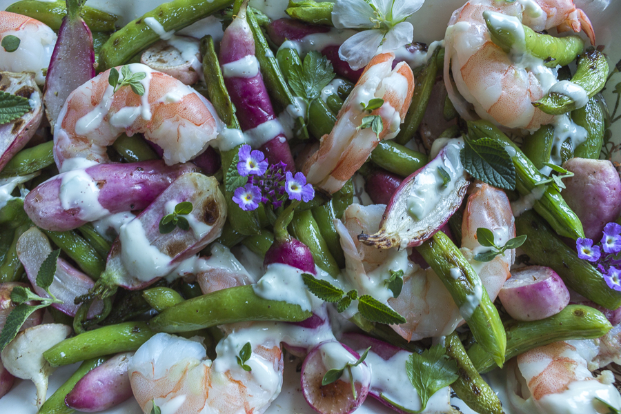 Add Poached Pink Shrimp and a Creamy Yogurt Dressing to the Grilled Vegetables