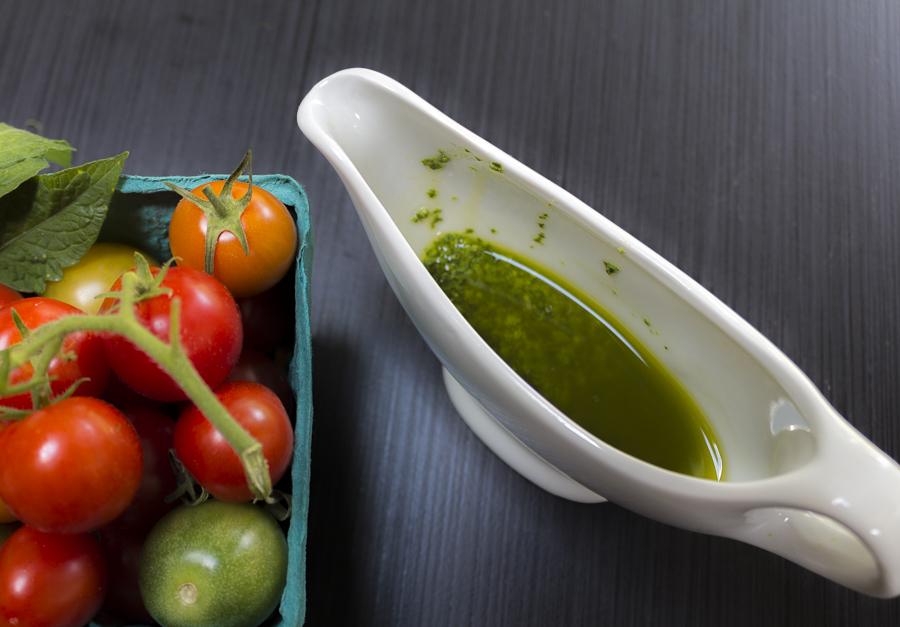 A simple whisked Pesto Vinaigrette