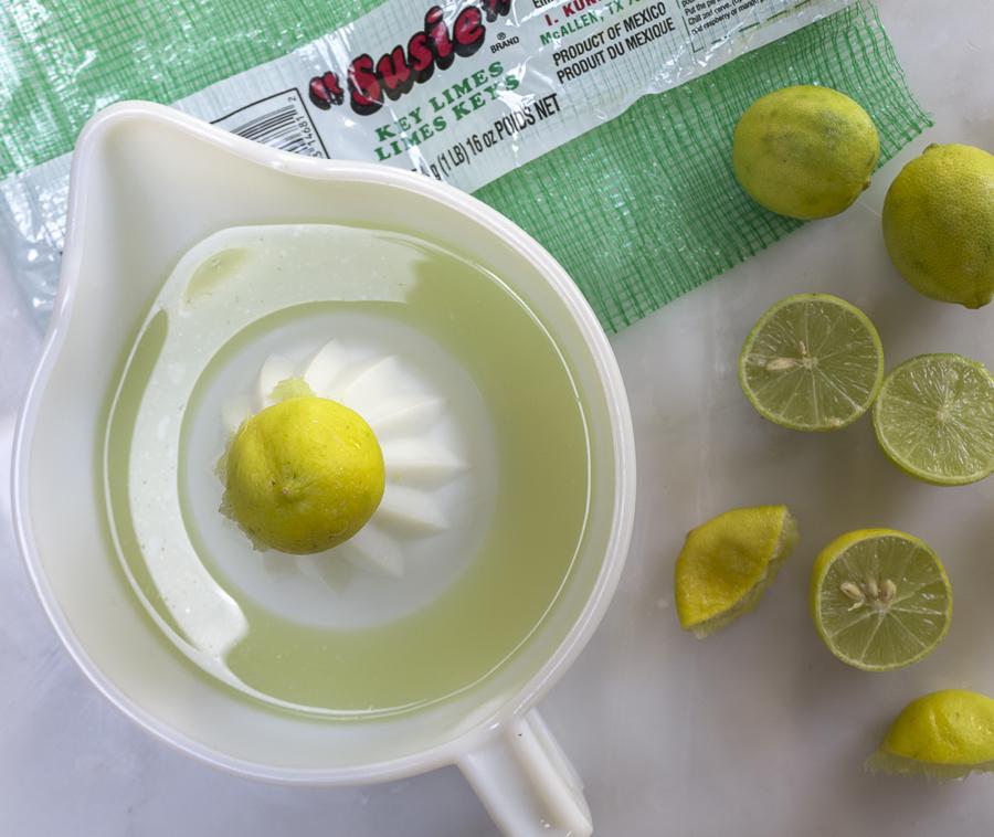 Squeeze fresh key limes, a distinctive tart flavor