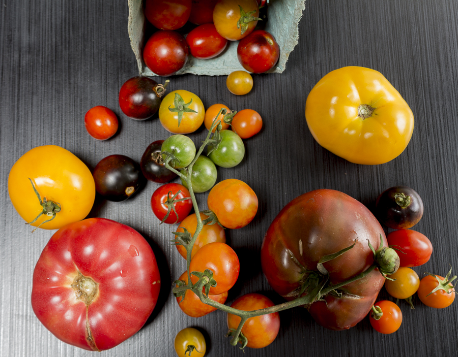 Heirloom Tomatoes add a deep flavor and gorgeous color to the stew