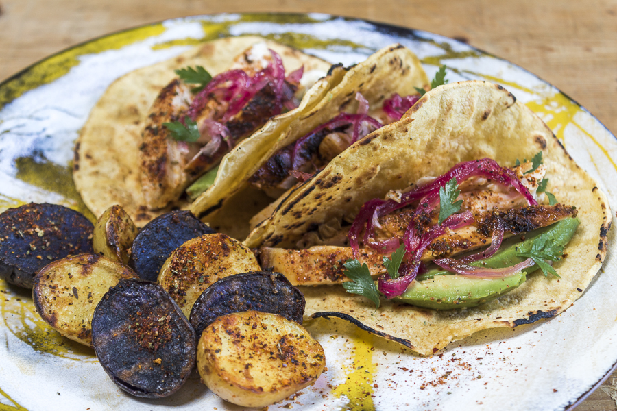 Corn tacos filled with slices of seasoned chicken, avocado and pickled red onions