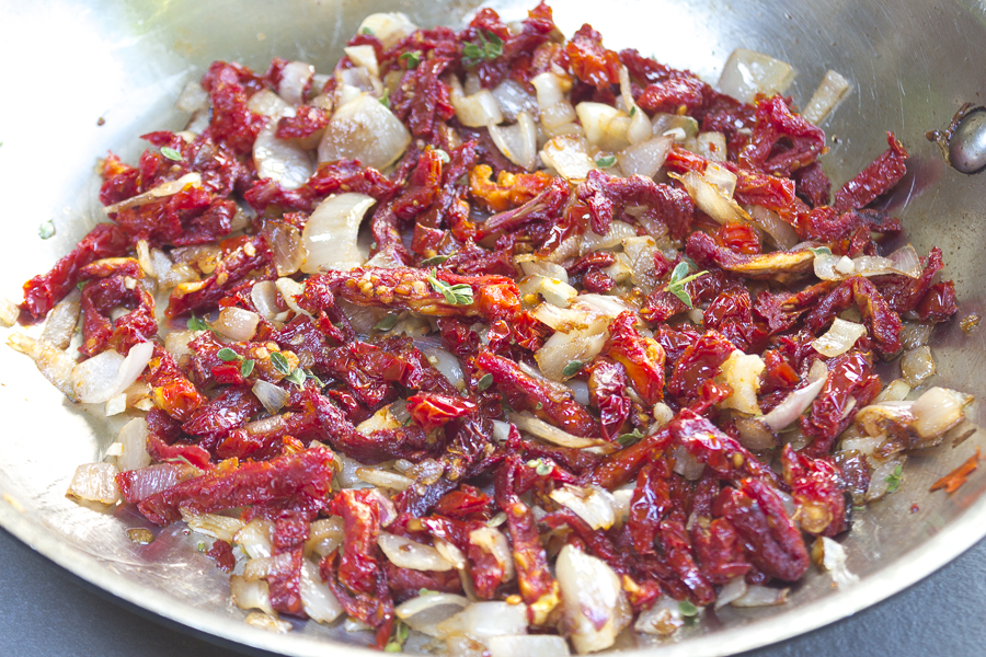 Sun Dried Tomato Pesto - saute shallots,  garlic,  sun dried tomatoes and fresh thyme