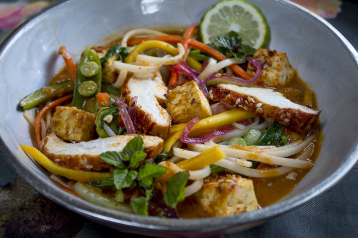 Coconut Curry Noodles with Tofu and Chicken ~ A Fragrant Bowl of Yum!
