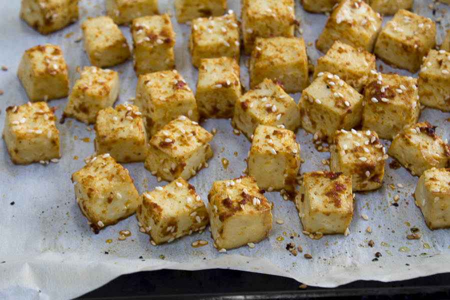 The baked tofu with sesame seeds
