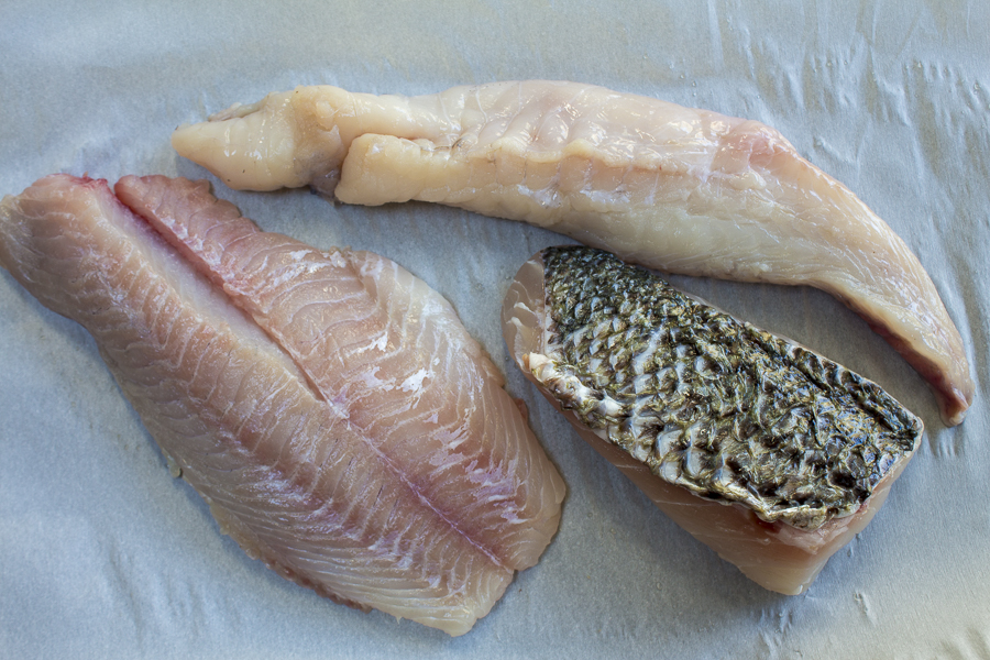 Choose the freshest firm white filets,  I've used Blackfish,  Sea Bass and Monkfish